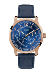 Guess Analog Quartz Watch for Men with Leather Band, Water Resistant and Chronograph, W1306G1, Blue