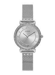 Guess Analog Quartz Watch for Women with Stainless Steel Band, Water Resistant, W1289L1, Silver