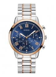 Guess Analog Quartz Watch for Men with Stainless Steel Band, Water Resistant and Chronograph, W1309G4, Gold-Blue