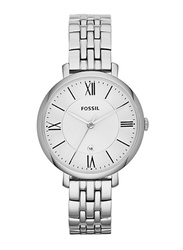 Fossil Jacqueline Analog Watch for Women with Stainless Steel Band, Water Resistant, ES3433, Silver