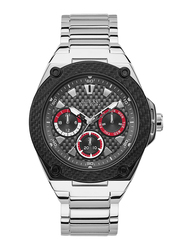 Guess Analog Quartz Watch for Men with Stainless Steel Band, Water Resistant and Chronograph, W1305G1, Silver-Black