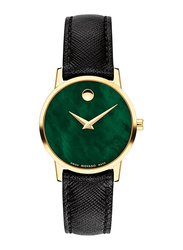 Movado Modern Classic Analog Watch for Women with Leather Band, Water Resistant, 0607423, Black-Green