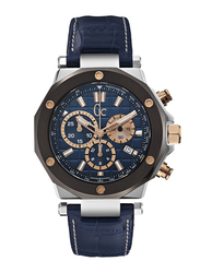 GC 3 Analog Watch for Men with Leather Band, Water Resistant and Chronograph, X72025G7S, Blue