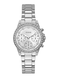 Guess Analog Quartz Watch for Women with Stainless Steel Band, Water Resistant, W1293L1, Silver