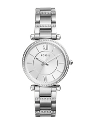 Fossil Carlie Analog Watch for Women with Stainless Steel Band, Water Resistant, ES4341, Silver