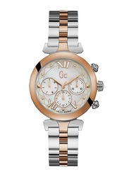 Guess Collection LadyBelle Analog Watch for Women with Stainless Steel Band, Water Resistant and Chronograph, Y28002L1, Silver-White