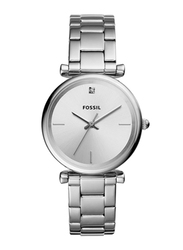 Fossil Carlie Analog Watch for Women with Stainless Steel Band, Water Resistant, ES4440, Silver