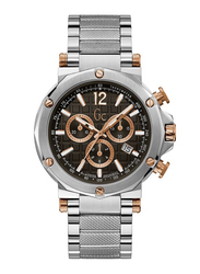 GC Spirit Analog Watch for Men with Stainless Steel Band, Water Resistant and Chronograph, Y53005G2MF, Silver-Black