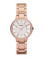 Fossil Virginia Analog Watch for Women with Stainless Steel Band, Water Resistant, ES3284, Rose Gold-Silver