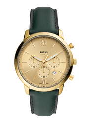Fossil Neutra Analog Watch for Men with Leather Band, Water Resistant and Chronograph, FS5580, Green-Gold