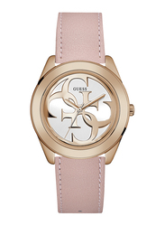 Guess Analog Quartz Watch for Women with Leather Band, Water Resistant, W0895L6, Pink-White
