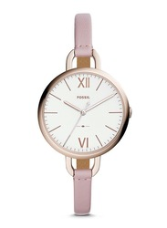 Fossil Annette Analog Watch for Women with Leather Band, ES4356, Pink-Silver
