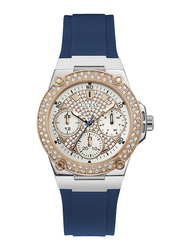 Guess Analog Quartz Watch for Women with Silicone Band, Water Resistant, W1291L2, Blue-White