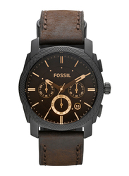 Fossil Machine Analog Watch for Men with Leather Band, Water Resistant and Chronograph, FS4656IE, Brown-Black