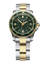 Victorinox Swiss Army Analog Watch for Women with Stainless Steel Band, Water Resistant, 241612, Silver/Gold-Green