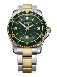 Victorinox Swiss Army Analog Watch for Men with Stainless Steel Band, Water Resistant, 241605, Silver/Gold-Green