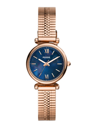 Fossil Carlie Mini Analog Watch for Women with Stainless Steel Band, Water Resistant, ES4693, Rose Gold-Blue