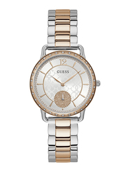 Guess Analog Quartz Watch for Women with Stainless Steel Band, Water Resistant, W1290L2, Rose Gold-White