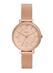 Fossil Jacqueline Analog Watch for Women with Stainless Steel Band, Water Resistant, ES4628, Rose Gold