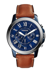 Fossil Grant Analog Watch for Men with Leather Band, Water Resistant and Chronograph, FS5151, Light Brown-Blue