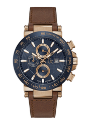 GC UrbanCode Analog Watch for Men with Leather Band, Water Resistant and Chronograph, Y37002G7, Brown-Blue