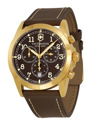 Victorinox Swiss Army Infantry Analog Watch for Men with Leather Band, Water Resistance and Chronograph, 241647, Brown