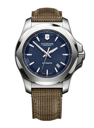 Victorinox Swiss Army I.N.O.X. Mechanical Analog Watch for Men with Innovative Wood Band on Leather Base, Water Resistant, 241834, Brown-Blue