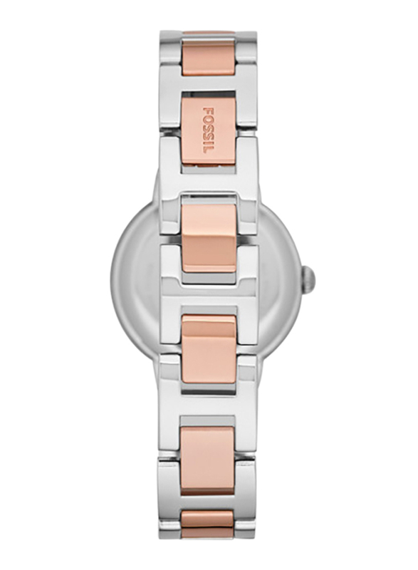 Fossil Virginia Analog Watch for Women with Stainless Steel Band, Water Resistant, ES3405, Rose Gold/Silver-Rose Gold