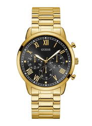 Guess Analog Quartz Watch for Men with Stainless Steel Band, Water Resistant and Chronograph, W1309G2, Gold-Black