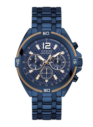 Guess Analog Quartz Watch for Men with Stainless Steel Band, Water Resistant and Chronograph, W1258G3, Blue