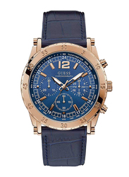 Guess Analog Quartz Watch for Men with Leather Band, Water Resistant and Chronograph, W1311G2, Blue