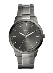 Fossil The Minimalist 3H Analog Watch for Men with Stainless Steel Band, Water Resistant, FS5459, Smoke-Grey