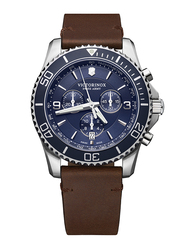 Victorinox Swiss Army Maverick Analog Watch for Men with Leather Band, Water Resistant and Chronograph, 241865, Brown-Blue