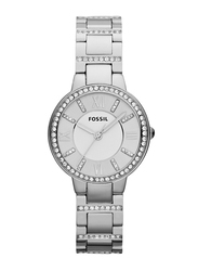 Fossil Virginia Analog Watch for Women with Stainless Steel Band, Water Resistant, ES3282, Silver