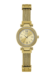 Guess Analog Quartz Watch for Women with Stainless Steel Band, Water Resistant, W1009L2, Gold