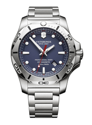 Victorinox Swiss Army I.N.O.X. Professional Diver Analog Watch for Men with Stainless Steel Band, Water Resistant, 241782, Silver-Blue