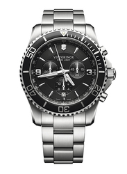 Victorinox Swiss Army Analog Watch for Men with Stainless Steel Band, Water Resistant and Chronograph, 241695, Silver-Black