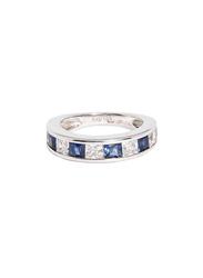 Apm Monaco 925 Sterling Silver Midi Ring for Women with Cubic Zirconia Stone, Silver/Blue, EU 44