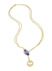 Just Cavalli Just Hipnose Stainless Steel Pendant Necklace for Womenwith Brand Charm Pendant and Blue Multifaceted Stone, Gold
