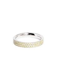 Apm Monaco 925 Sterling Silver Midi Ring for Women with Cubic Zirconia Stone, Yellow, EU 44