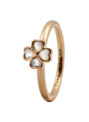 Christina Design London Gold Plated Sterling Silver Fashion Ring for Women with Foursome Pearl Stone, Gold, EU 53
