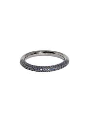 Apm Monaco 925 Sterling Silver Fashion Ring for Women with Cubic Zirconia Stone, Gunmetal/Blue, EU 58