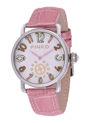 Pinko Geko Analog Quartz Watch for Women with Leather Band, Water Resistant, 21000, Pink-White