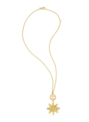Just Cavalli Just Hurricane Stainless Steel Necklace for Womenwith Floral Pendant and White Crystal Stone, Gold