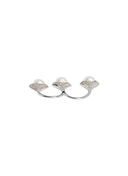 Apm Monaco 925 Sterling Silver Shells Multi Finger Ring for Women with 3 Pearl, Silver, S