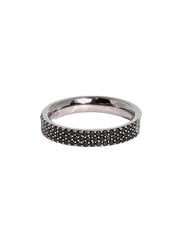 Apm Monaco 925 Sterling Silver Fashion Half Ring for Women with Cubic Zirconia Stone, Black, EU 44