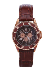 Colori Analog Watch for Women with Leather Band, Water Resistant and Chronograph, 5-COL, Brown