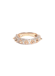 Apm Monaco 925 Sterling Silver Midi Ring for Women with Cubic Zirconia Stone, Rose Gold, EU 44