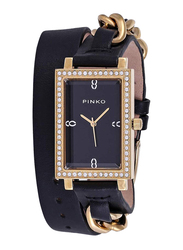 Pinko Analog Quartz Watch for Women with Leather Band, Water Resistant, 200004, Black-Gold