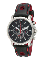 Zeades Monte Carlo Surface Fleet Analog Watch for Men with Leather Band, Water Resistant and Chronograph, ZWA01136, Black